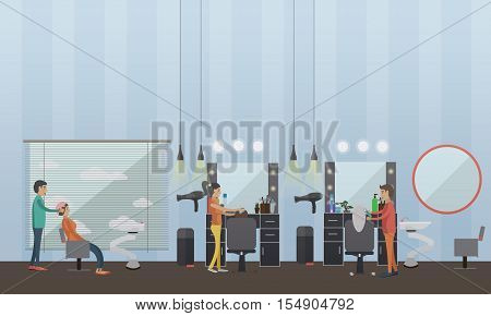 Beauty salon interior vector concept banners. Hair style design studio. Women in haircut atelier. Illustration in flat cartoon style. poster