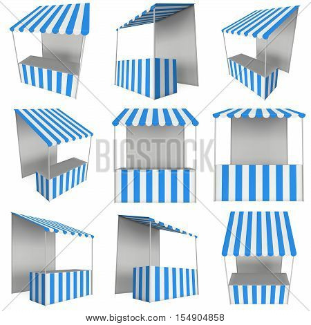 Market stand kiosk stall with striped awning for promotion sale. Shopping cart set. Business store showcase and kiosk marketplace mobile. 3D render illustration isolated on white.