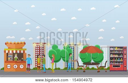 Street food festival concept vector banner. People sell food from stalls in park. Hot Dog cart.
