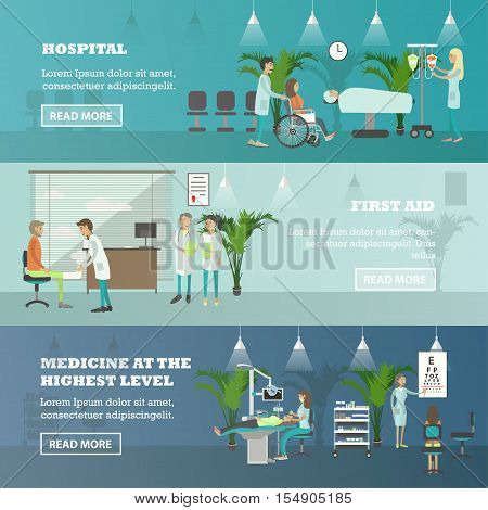 Horizontal vector banners with doctors and patients in hospital. Medicine concept. Patients passing medical check up, surgery operation room. Flat cartoon illustration.