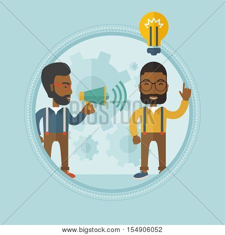 An african-american businessman speaking to megaphone and making announcement for business idea. Concept of business idea and announcement. Vector line design illustration. Square layout.