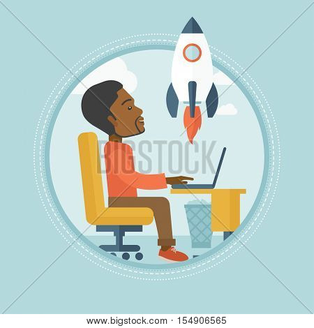 African businessman working on new business start up. Businessman looking at business start up rocket. Business start up concept. Vector flat design illustration in the circle isolated on background.