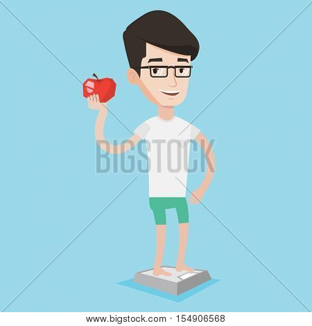 Man standing on scales with apple in hand. Man leading a healthy lifestyle. Man satisfied with result of his diet. Joyful man on diet. Dieting concept. Vector flat design illustration. Square layout.