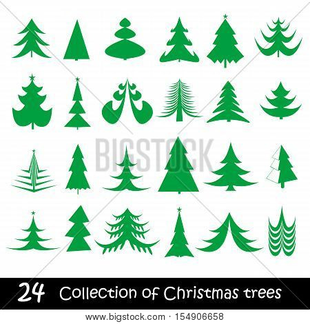 Elegant symbolic Christmas trees collection. Vector illustration.