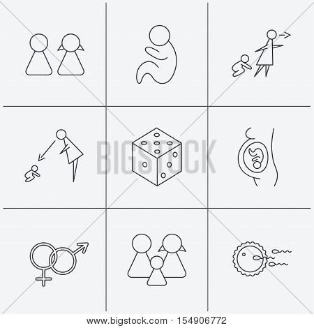 Pregnancy, pediatrics and family planning icons. Under supervision, unattended and baby child linear signs. Dice, male and female icons. Linear icons on white background. Vector