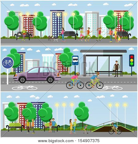 People in park concept banners. City landscape with road and parks. Bus stop and car on a street. Vector illustration in flat style design.