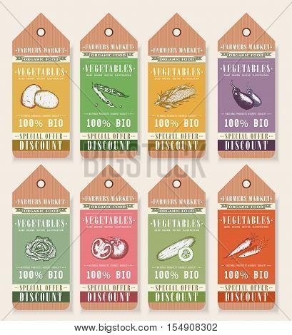 Vegetable seeds packets template. Vegetables tags design elements organic eco food vintage vector