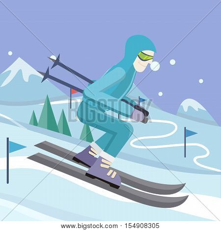 Skier on slope vector illustration. Flat design. Man in ski suit sliding from hill with slalom flags. Winter entertainments, outdoor activity and sport. Extreme slalom. For mountain resort ad