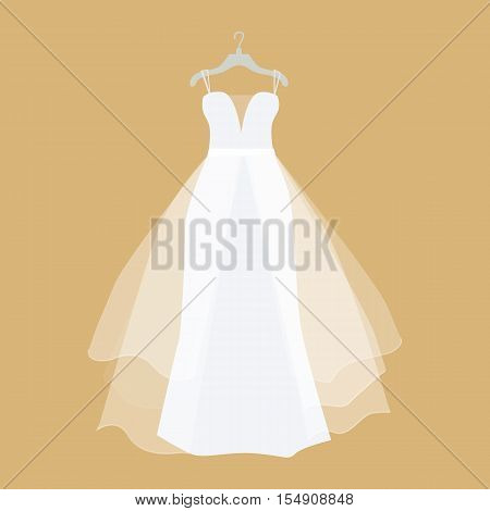 Wedding dress vector. Flat design. Elegant white dress for bride hanging on hanger. Preparing to marriage ceremony. For wedding clothes shop, holiday planning companies ad