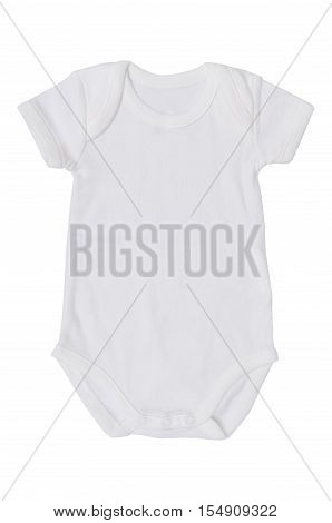 white baby jumpsuit isolate on white background