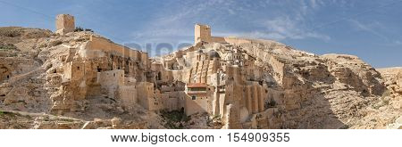Large Panoramic View Of The The Holy Lavra Of Saint Sabbas The Sanctified, Known In Arabic As Mar Sa