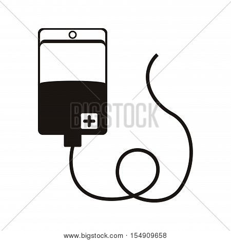 hanging bag for blood icon over white background. vector illustration