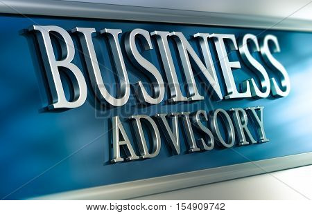 3D illustration of a business advisory plaque with blue and grey tones. Horizontal image. Concept of advice services or consulting company