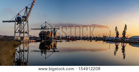 SZCZECIN, POLAND-CIRCA july 2016:merchant ship in the sea port