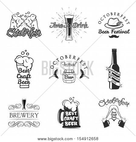 Beer festival Octoberfest celebrations retro style labels, badges and logos set with beer mug. Oktoberfest beer bottle. Brewery Bovaria. Best craft beer. Vector illustration.