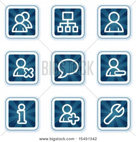 Users web icons, navy square buttons