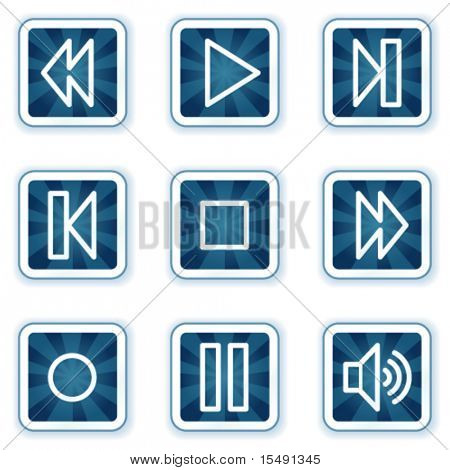Walkman web icons, navy square buttons