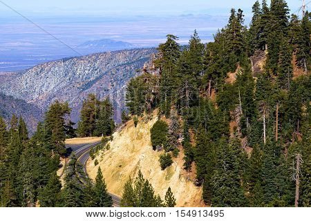 Angeles Crest Highway also known as Highway 2 with the Mojave Desert beyond taken in the San Gabriel Mountains, CA