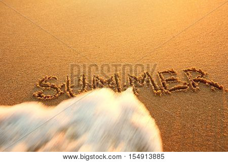 The concept of the end of summer. Concept summer recreation travel. Text