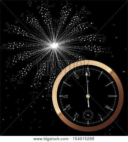 A New Year clock showing almost midnight.