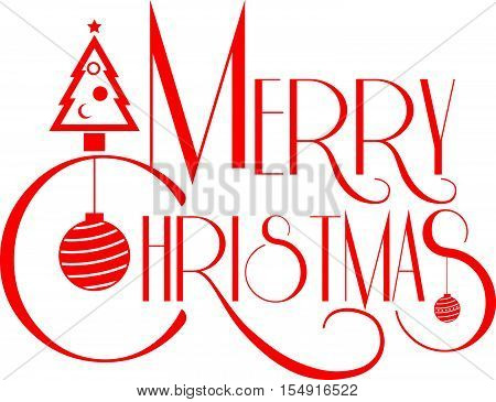 Merry Christmas Text Art Red Color Vector Illustration. Use For Element Holiday Card And Promotion S