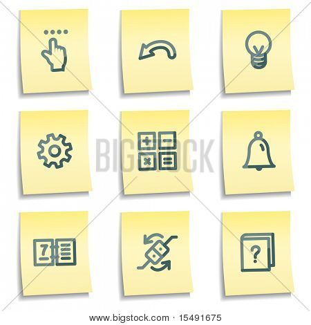 Organizer icons, yellow notes series