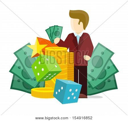 Gambling concept vector in flat style. Dice, money, croupier, winner, gold cions illustrations for gambling industry, sport lottery services, icons, web pages, logo design. On white background.