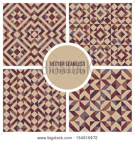 Set of Four Vector Seamless Truchet Geometric Pattern Collection Tiling