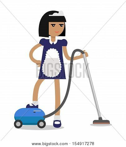 House cleaning personnel vector concept. Flat design. Smiling maid in uniform working with vacuum cleaner. Illustration for cleaning companies and services advertising. Isolated on white background.
