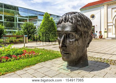 Sculpture In Front Of Roman Thermal Bath In Baden, Austria.