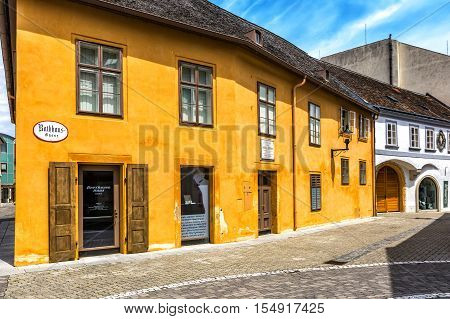 BADEN AUSTRIA - JUNE 26 2016: Beethoven House Baden (Rathausgasse 10) is a museum of Ludwig van Beethoven in Baden bei Wein. The composer spent 15 years his summer in Baden.