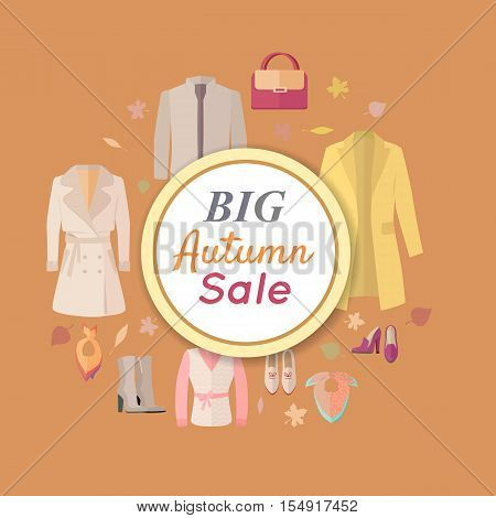 Big autumn sale. Fall outerwear sale banner poster. Autumn old collection sale. Discount on stylish fashionable designers clothes. Best world brands trends at low price. Thanksgiving day sale. Vector