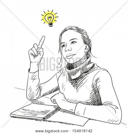 Sketch of schoolgirl with finger pointing up having idea, Hand drawn vector illustration