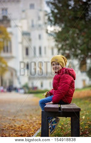 Cute Beautiful Child, Boy, Sitting On A Bench In Front Of Beautiful Renaissance Castle Hluboka In Th