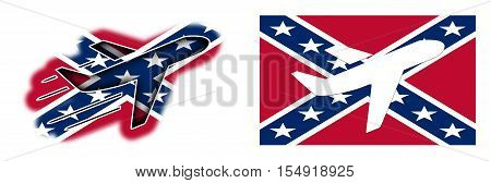 Nation Flag - Airplane Isolated - Confederate Flag