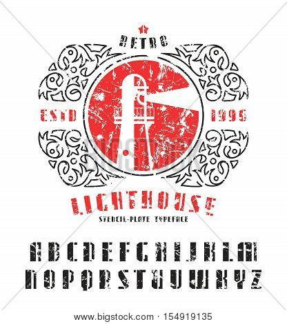 Stock vector set of sanserif stencil-plate font and lighthouse emblem. Bold typeface with shabby texture