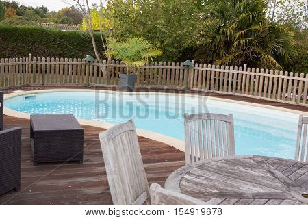 Beautiful House, Swimming Pool Nobody Inside, Wooden Deck