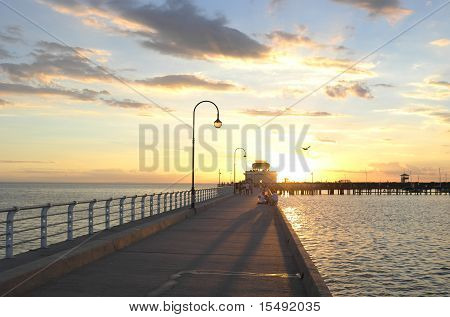 Sunset on a wooden jetty