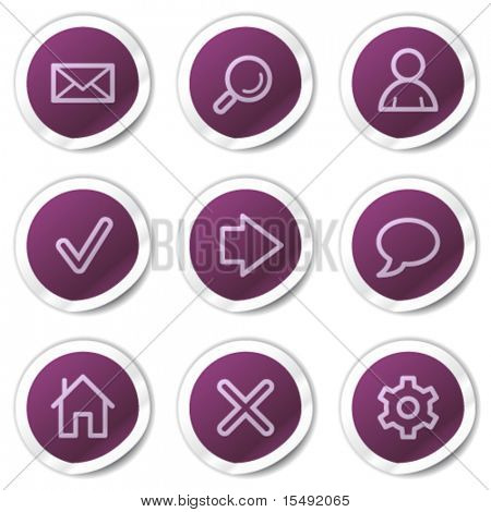Basic web icons, purple stickers series