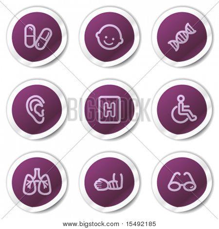 Medicine web icons set 2, purple stickers series