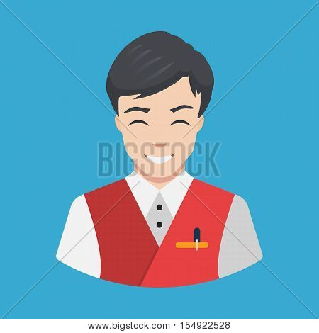 Hotel staff - Waiter Icon vector Flat design Smiling waiter serving Vector illustration
