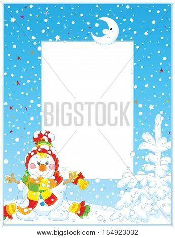 Vector frame with a smiling little snowman ringing a small bell on a snowy Christmas eve night