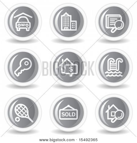 Real estate web icons, circle grey glossy buttons