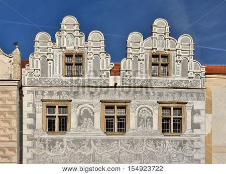 SLAVONICE CZ - NOVEMBER 2016: Renaissance front of a town house with Sgraffito in Slavonice Czech Republic
