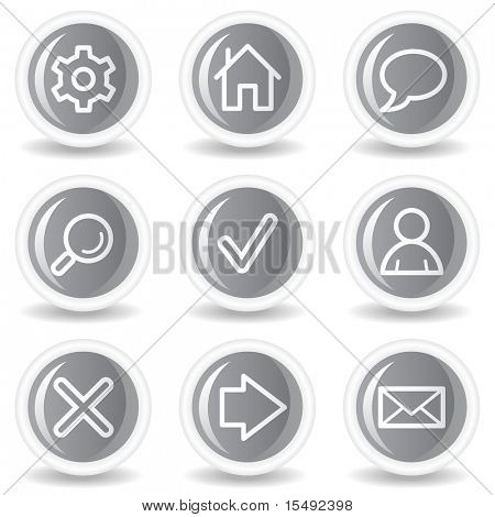 Basic web icons, circle grey glossy buttons