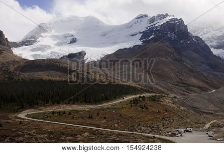 View From Icefields Parkway To The Columbia Icefield