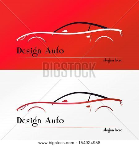 Red Sport Car silhouette Logo design vector template. Race automotive vehicle Logotype concept icon.