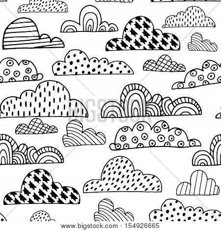 Seamless pattern with doodle clouds. Black and white hand drawn clouds. Vector Illustration
