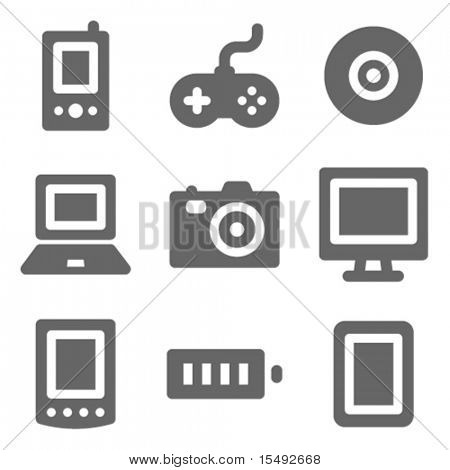 Electronics web icons, grey solid series poster