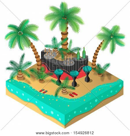 Tropical island. Bar, palm trees, sandals, beach and sea. 3D isometric view. Vector illustration.